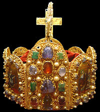 The crown of the Holy Roman Empire (2nd half of the 10th century), now held in the Vienna Schatzkammer.