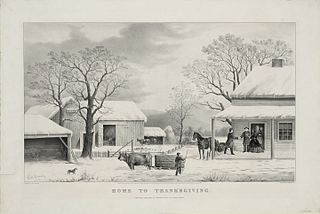 Currier & Ives: Home to Thanksgiving, 1867