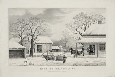 Home to Thanksgiving, lithograph by Currier and Ives (1867) Home To Thanksgiving, Currier and Ives.jpg