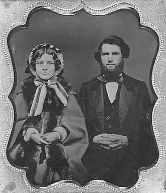 Horace Austin - Horace Austin and Mary Lena Morill on their wedding day, 1859.