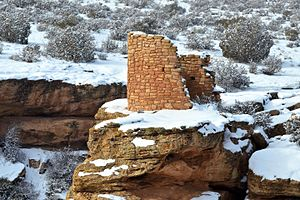 Hovenweep National Monument - Horseshoe Tower in the snow