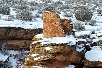 Ancestral Puebloans - Horseshoe Tower in the snow, Hovenweep National Monument