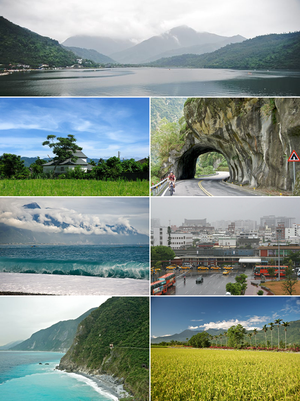 Hualien County - Top:Liyu Lake, Second left:A cigarette product house in Fenglin, Second right:Taroco Gorge in Cross Island Highway, Third left:Qixingtan Beach in Xincheng, Third right:Hualien Railroad Station, Bottom left:Cingshui Cliffs near Suhua Highway, Bottom right:A paddy field in Shoufeng, backyard in Central Mountain Range