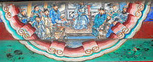 "Huang Zhong - The portrait ""Huang Zhong requests to go into battle"" (黃忠請戰) at the Long Corridor of the Summer Palace, Beijing. The picture depicts a scene from the novel Romance of the Three Kingdoms in which an elderly Huang Zhong urged Liu Bei to send him to fight Xiahou Yuan despite concerns over his age."