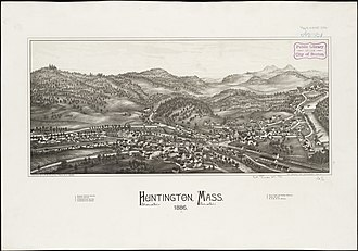 Huntington, Massachusetts - Print of Huntington by L.R. Burleigh from 1886 with listing of sights