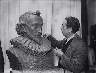 P. C. Hooft Award - Sculptor Frits Sieger with bust of P.C. Hooft. Amsterdam; 22 March 1947