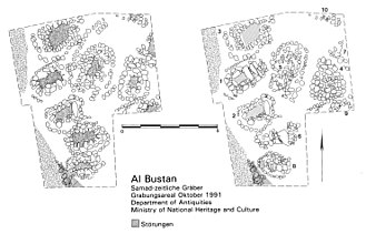 Al-Bustan, Oman - Excavated Late Iron Age graves at al-Bustan, Oman. Left: excavated, right: prior to excavation.