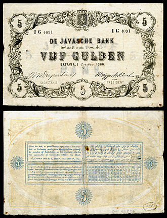 Netherlands Indies gulden - De Javasche Bank-5 Gulden (1866)
