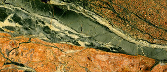 Meteorite shock stage - Image: Impact pseudotachylite, Rochechouart Impact Crater west central France