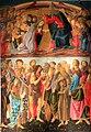 Incoronazione della Vergine e Santi di Sandro Botticelli e bottega (tempera su tavola); unica opera proveniente dalla chiesa di San Francesco di Montevarchi e non dal Monastero di San Jacopo di Ripoli di Firenze.jpg