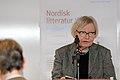 Inger Christensen laser ur ett av sina verk vid lanseringen av Nordisk litteratur til tjeneste pa Sorte diamant i Kopenhamn 2008-03-05 (1).jpg
