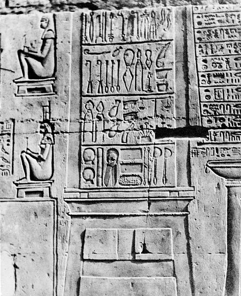 File:Inscribed tablet on the wall of the temple Kom-Ombos Wellcome M0014573.jpg