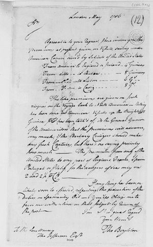 English: Thomas Boylston to Thomas Jefferson, ...