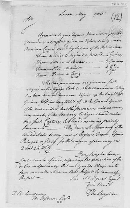 A sample insurance contract. Documents such as this helped traders survive losses. Insurance Contact 2.jpg