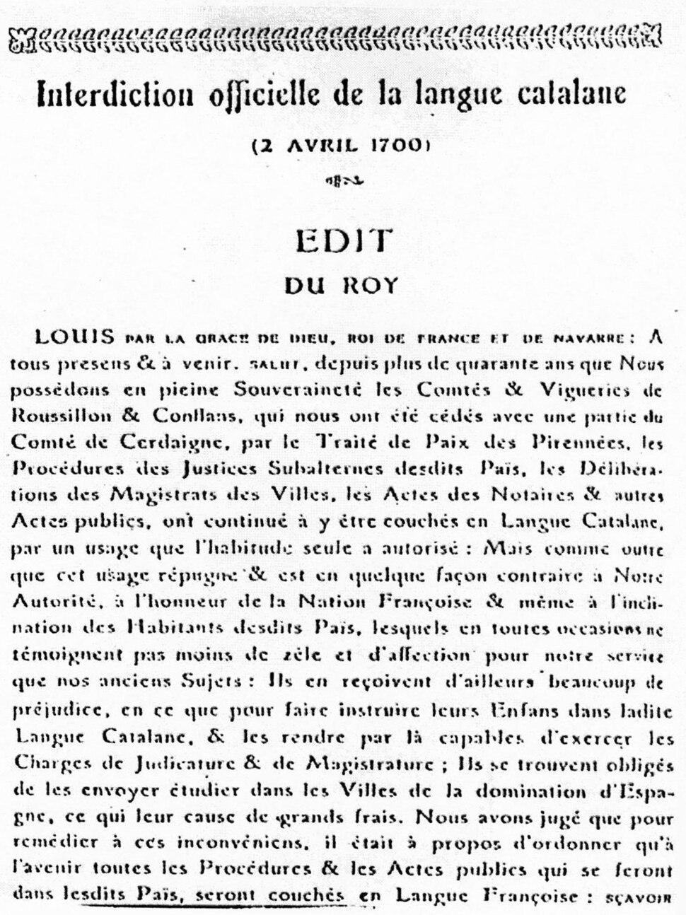 Interdiction officielle de la langue catalana 2 avril 1700
