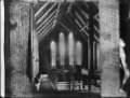 Interior view of Rangiatea Church, showing the Maori designs on the rafters (kowhaiwhai), looking towards the windows behind the altar ATLIB 307797.png