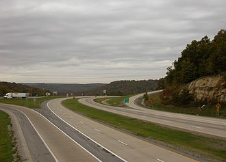 Interstate 64 in West Virginia - Interstate 64 at Sandstone Mountain in Raleigh County