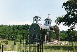 A Serbian Orthodox church destroyed by Albanians after the war