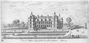 Château d'Ancy-le-Franc - Ancy-le-Franc and its parterre, modified to a design en broderie in the 1630s: etching by Israel Silvestre, 1640s