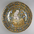 Italian - Lustered dish with a female figure - Walters 481741.jpg