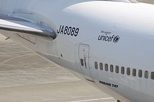 Aircraft registration - Registration JA8089 on a Japan Airlines Boeing 747-400.