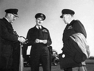 Colin Hannah - Group Captain Hannah (right) with Air Vice Marshal Val Hancock (left) and Group Captain A.G. Carr, commanding No. 91 Wing RAAF, in Japan, October 1952
