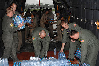 Cyclone Nargis - US Air Force personnel deliver relief supplies to Myanmar