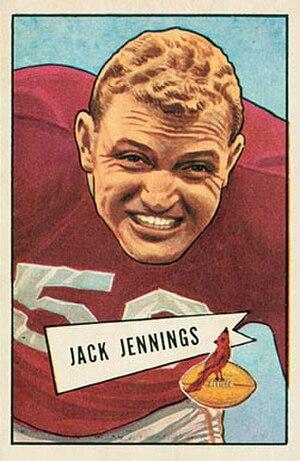 Jack Jennings - Jennings on a 1952 Bowman football card