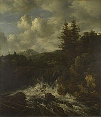 Jacob van Ruisdael - A Landscape with a Waterfall and a Castle on a Hill (National Gallery, London).jpg