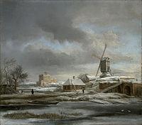 Jacob van Ruisdael - Winterlandschap met molen en huis in aanbouw.jpg