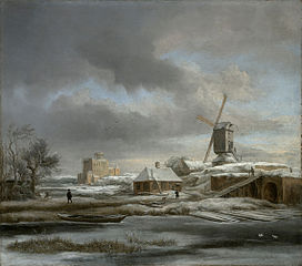 Winter landscape with windmil and a house in scaffolding