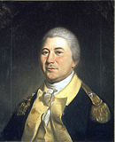 Painting of a gray haired man in a blue uniform with buff turnbacks and a white shirt