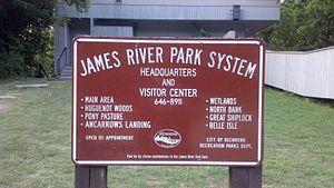 James River Park System - Sign at James River Park System headquarters