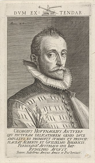 Joris Hoefnagel - Portrait of Joris Hoefnagel, engraving by Jan Sadeler (1592)