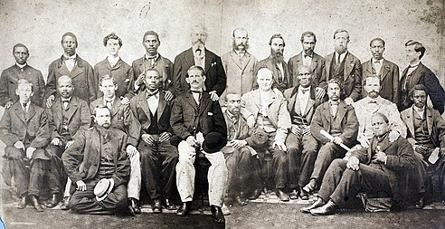 The 24 members of the petit jury impaneled by the United States Circuit Court for Virginia in Richmond for Davis's trial for treason in May 1867. Contemporary composite image from two glass plate negatives. Jefferson Davis jury (cropped).jpg