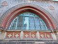 Jelky School. Window with Zsolnay ceramic. - Rákóczi Square, Budapest.JPG