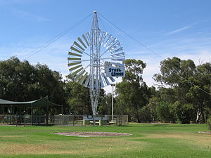 Jerilderie - The 'Steel Wings' nose plate acts as a governor and automatically turns the machine out of high winds to save damage.