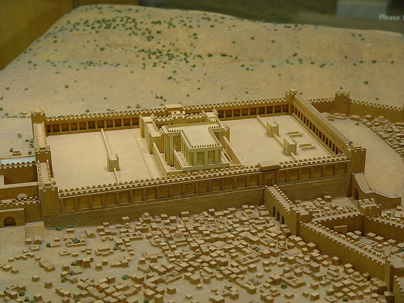 A small diorama/model of what the temple in Jerusalem may have looked like with the surrounding city during the time of Christ