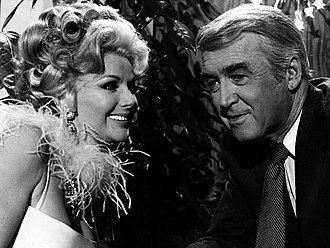The Jimmy Stewart Show - Photo from the television program The Jimmy Stewart Show. Prof. Howard (Stewart) meets an attractive actress (Chanin Hale) while appearing on a panel show.