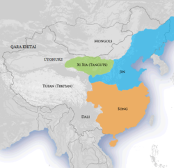 Jin dynasty (blue) circa 1141