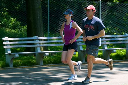 Jogging is one form of aerobic exercise. Jogging couple.jpg