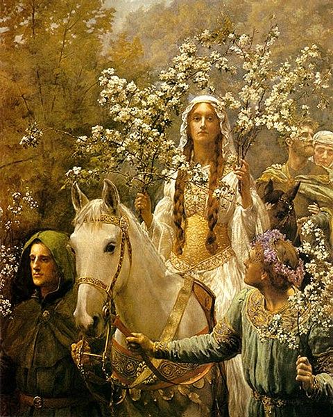 File:John Collier Queen Guinevre's Maying - Ausschnitt.jpg