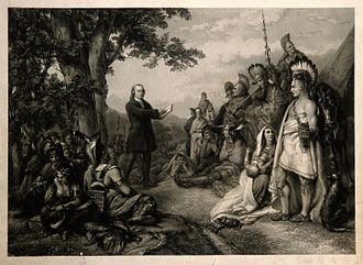 John Wesley - Wesley preaching to a tribe of Native Americans. Engraving.