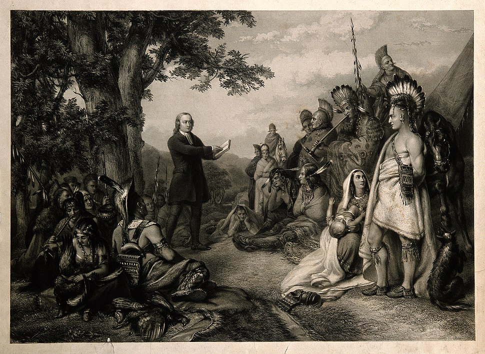John Wesley preaching to native American Indians. Engraving. Wellcome V0006867