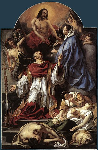 Charles Borromeo - Charles Borromeo intercedes during the plague; painting by Jacob Jordaens (1655)