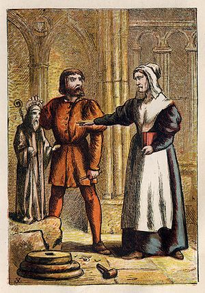 Joseph Martin Kronheim - Foxe's Book of Martyrs Plate VIII - Prest's Wife and the Stonemason.jpg