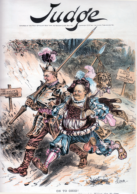 "Judge magazine cover from September 1890, showing McKinley (left) having helped dispatch Speaker Reed's opponent in early-voting Maine, hurrying off with the victor to McKinley's ""gerrymandered"" Ohio district Judge cover September 1890 - On to Ohio.png"