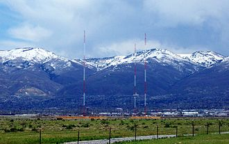 KZNS (AM) - The radio towers for KZNS, north of the Salt Lake City International Airport