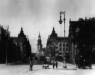 Karl-Liebknecht-Straße - Kaiser-Wilhelm-Straße, view to St. Mary's Church, 1899