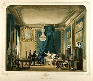 1843 in Sweden - Karl Johan konfererer med embetsmenn fra sengen i sitt sove-og arbeidsværelse på Stockholms slott - Norsk Folkemuseum - NF.1915-0138